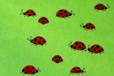 mojo: Ladybirds on green background