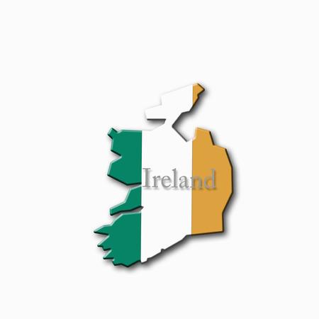 western script: Ireland text written on ireland flag, close up