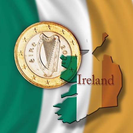traditionally irish: Euro coin and Irish flag, close up