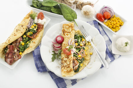 sour cream: Crepe with spinach, bacon, cheese, garlic and sour cream