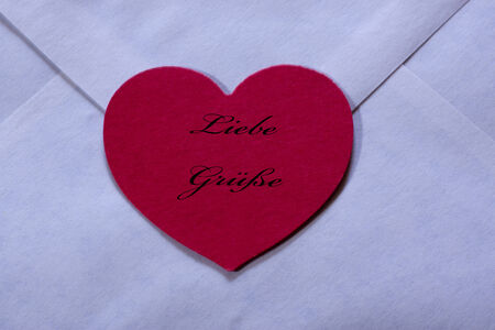 best wishes: Envelope with heart, Best wishes Stock Photo