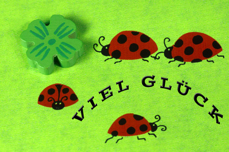 cloverleaves: Greeting card with ladybirds
