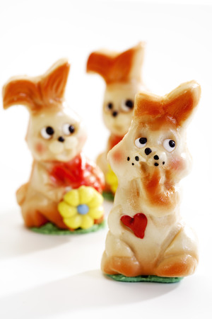 figur: Marzipan easter bunnies, figurines Stock Photo