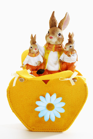 heartshaped: Eastern, heart-shaped bag with easter bunny figurines