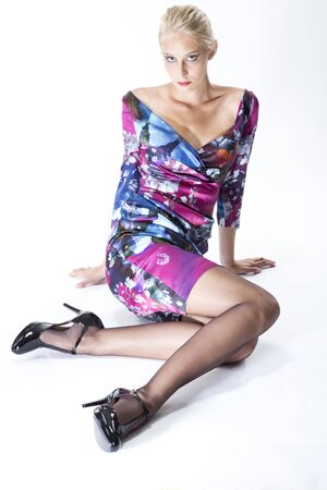 colorful dress: Fashion, young blond woman, colorful dress and high heels