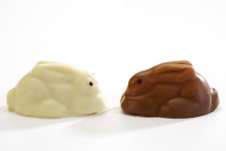 leporidae: Eastern, white and brown chocolate easter bunnies, figurines