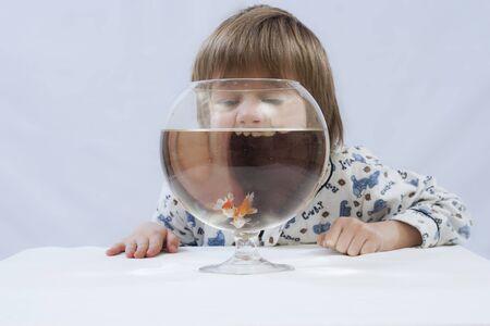 fishbowl: Girl behind fishbowl with goldfish
