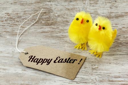 twee: Eastern, chick figurines on wood, Easter card