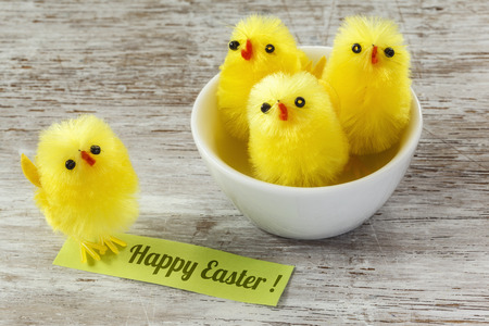 twee: Happy Easter card, chick figurines in bowl and on wood