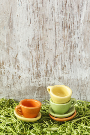 picknick: Miniature cups on grass, picknick Stock Photo