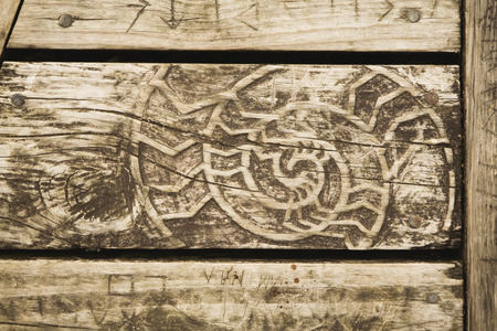 woodcarving: Wooden bench with woodcarving Stock Photo