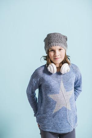head phones: Girl with head phones, portrait Stock Photo
