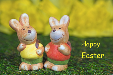 twee: Two easter bunny figurines, Happy Easter card