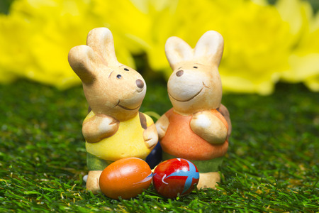 leporidae: Two easter bunny figurines