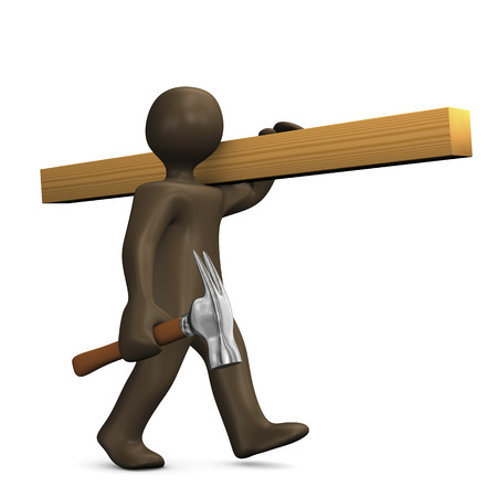 manual worker: Carpenter with wood and hammer, 3d illustration Stock Photo