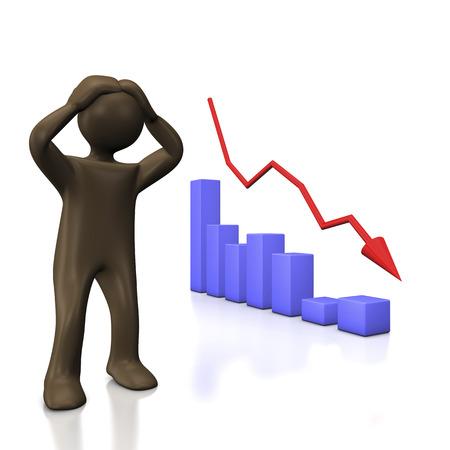 stock market crash: Falling chart, 3d illustration with cartoon character Stock Photo
