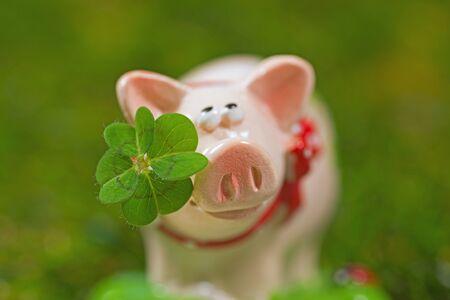 Lucky charm pig, figurine with cloverleaf