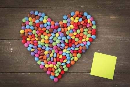 Heart Shape Chocolate Beans Smarties Blank Memo On Wood Stock
