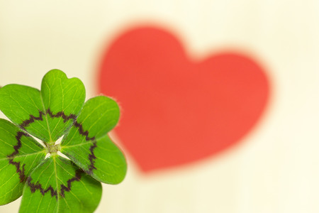 mojo: Cloverleaf and red heart Stock Photo