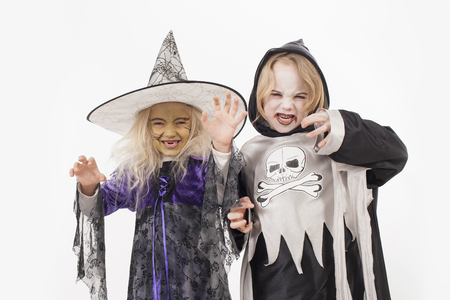 Brother and sister in halloween costume for halloween Stock Photo