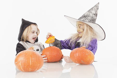 fancy dress costume: Brother and sister in fancy dress costume for halloween Stock Photo