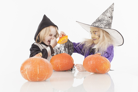 fancy dress: Brother and sister in fancy dress costume for halloween Stock Photo