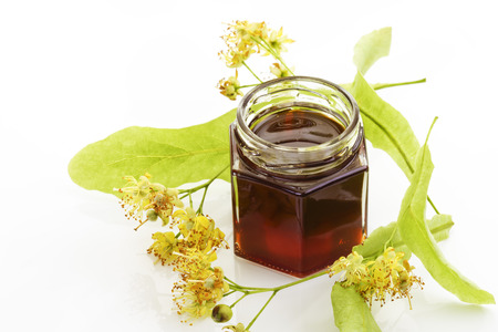 lime blossom: Lime blossom honey in a jar