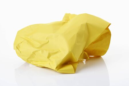 crinkled: Crumpled yellow paper