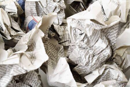 Crumpled newsprint, paper