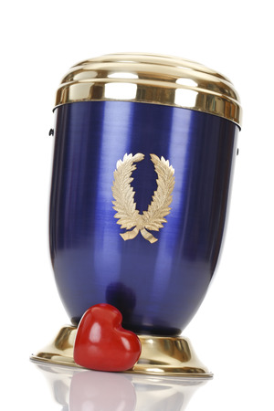 decease: Blue golden urn and red heart Stock Photo
