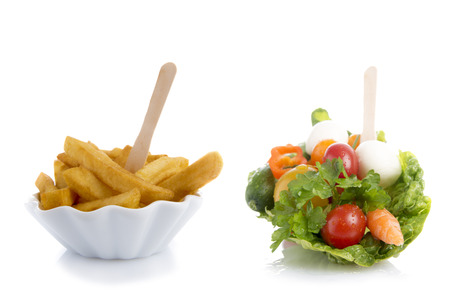 carb: French fries and salad, High Carb, Low Carb Stock Photo