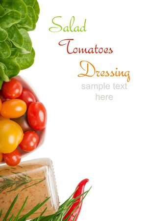 ��copy space �: Salad, Tomatoes, Dressing, copy space Stock Photo