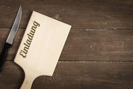 まな板: チョッピング ボードとナイフ、バーベキュー、招待状
