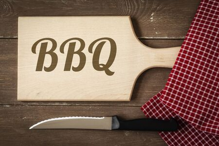 chopping board: Chopping board, kitchen towel and knife, Barbecue Stock Photo