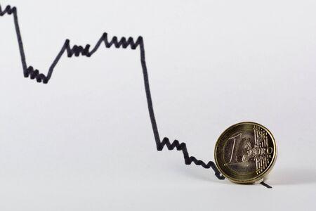 economic activity: One euro coin, depression, stock-market price