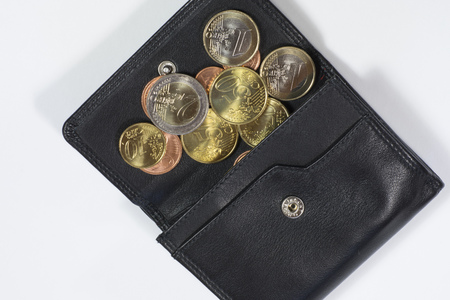 2 50: Purse with euro coins Stock Photo