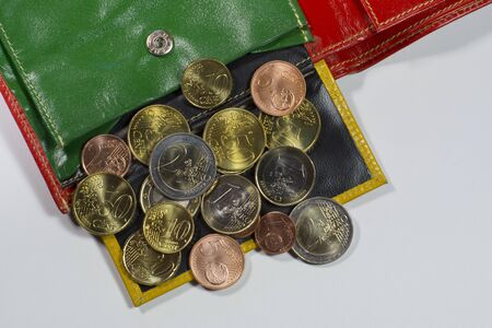change purses: Purse with euro coins Stock Photo