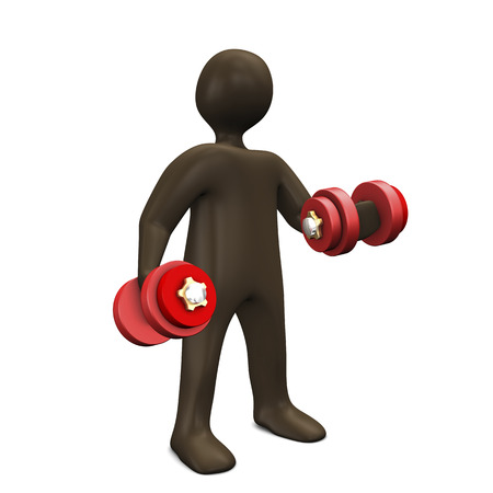weights: Black cartoon character with free weights. 3d illustration. Stock Photo