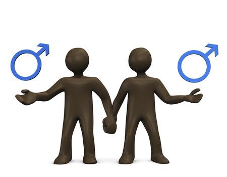 Gay, 3d illustration with black cartoon character illustration
