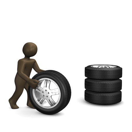 wheel change: Wheels, 3D Illustration with black cartoon character Stock Photo