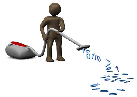 digital data: Data vacuum cleaner, 3d illustration with black cartoon character