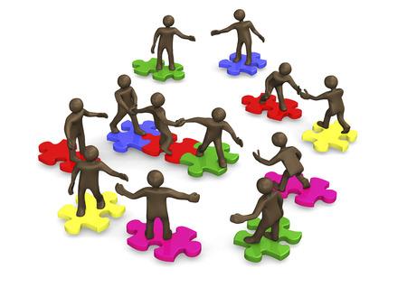 Teamwork, Zahnräder, 3D-Darstellung Mit Schwarzen Zeichentrickfigur ...