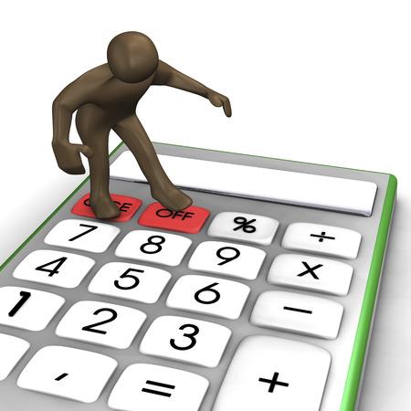 Pocket calculator. 3d illustration with black cartoon character.
