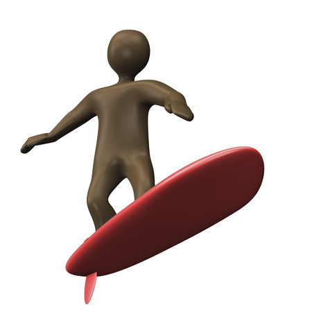 surfing the net: Black cartoon character with surfboard. 3d illustration.