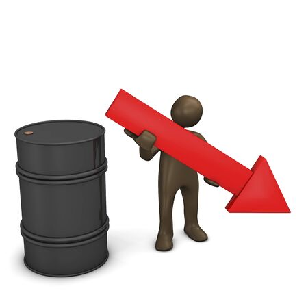 share prices: Oil, falling price. 3d illustration with black cartoon character.
