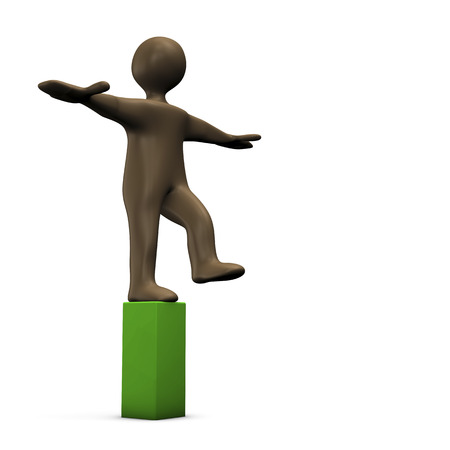 equilibrium: Black cartoon character poises on green stob. 3d illustration.