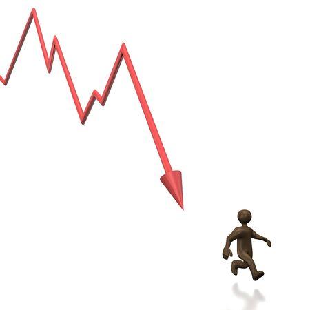 comic figur: Schwarz Cartoon-Figur, fallende Diagramm. 3D-Darstellung. Lizenzfreie Bilder