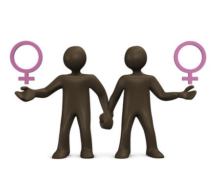 Lesbian, 3d illustration with black cartoon characters illustration