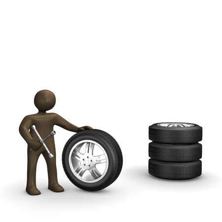 wheel change: Wheels with spanner, 3D Illustration with black cartoon character Stock Photo