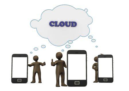 ok sign language: Smartphones, cloud, Ok, 3d illustration with black cartoon character Stock Photo